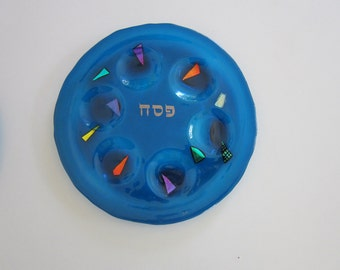 Turquoise Color Seder Plate