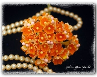 Shabby Cottage French Style Forget Me Not Millinery Vintage Flowers - Orange