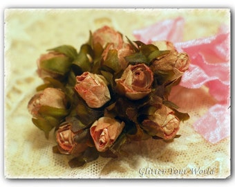 Antiqued Vintage Style Shabby Cottage Distressed ROSE BUD BOUQUET scrunched seam binding bow