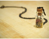 The secret garden // Gold dust, lavender & dried petal glass bottle necklace