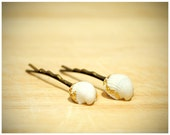 White Sea Shell Hair Clips with Gold Leaf Edges