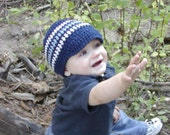 Blue and Light blue boy beanie size is 6 to12 months can be done in other sizes and colors
