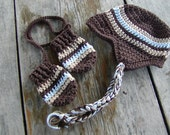 Adorable Brown and stripes Earflap Beanie with brim and matching mittens.boys, baby, infant, toddlers,teen..CUSTOMIZE YOURS TODAY