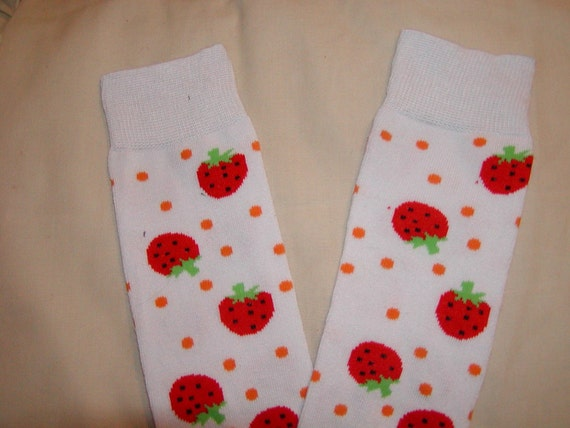 White with strawberries leg/arm warmers