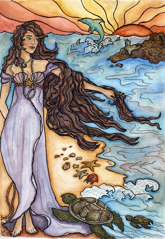 Aphrodite and the Sea, Ink and Watercolor Illustration