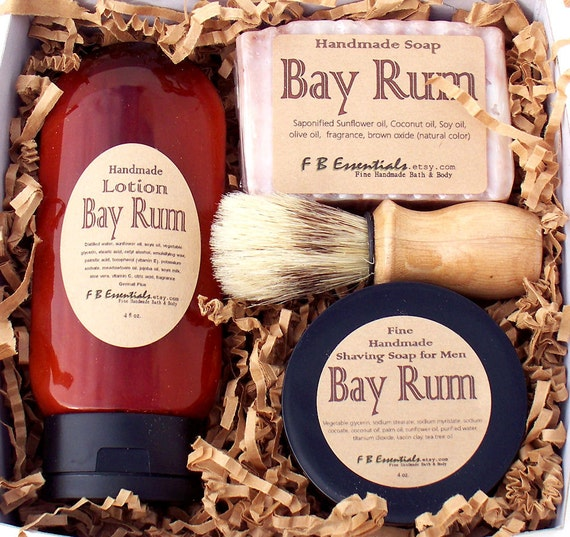 Men's Shaving Gift Set (Shave Soap, Bar Soap, Lotion)  Bay Rum