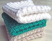 Cotton Washcloths, Crochet Washcloths, Cotton Facecloths, Cleansing Cloths, Set of 3, Green, Oatmeal & White