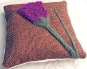 Lavender Sachet Pillow Needle Felted Scottish Thistle Buckwheat Hull Fill