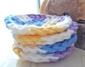Face Scrub Pads Crochet Cotton Cleansing Cloths - Purple Blue Yellow White variegated - Set of 4