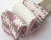 Cotton Washcloths  Crochet Face Cloths - Set of 3 - Raspberry and Oatmeal