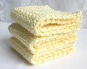 Cotton Washcloths,  Crochet Facecloths, Crochet Washcloths, Yellow washcloths, Crochet Dishcloths, Washcloth Set