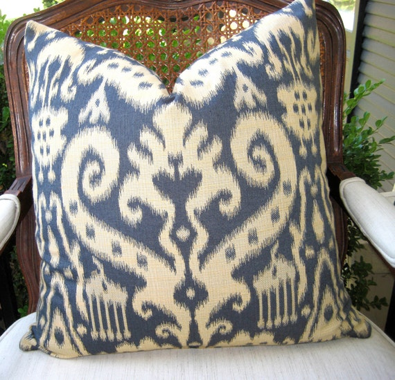 Decorative Pillow Cover  20inch Throw Pillow Accent Pillow Blue Ivory ikat pillow cover