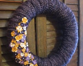 Lindsey yarn wreath, hand-wrapped wreath with felt flowers and pearls,14 in