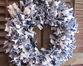 Penn State rag wreath, hand-tied blue and white wreath, 16 in