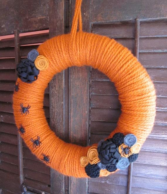 Sandra yarn wreath, handwrapped Halloween wreath, 14 in.