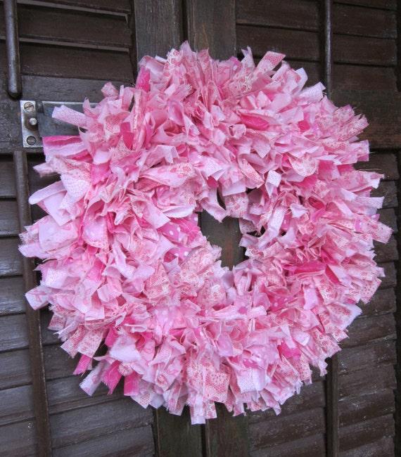 Davis rag wreath, hand-tied Breast Cancer Awareness wreath, 16 in