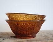 Amber Tiara Bowls Indiana Glass Vintage