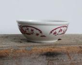 SyracuseIronstone Bowl Vintage  Red Floral Pattern