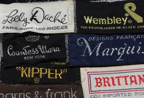 vintage fashion designer labels from clothing