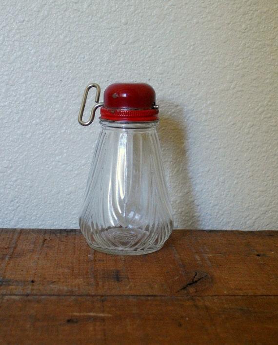 Antique Nut Grinder Retro Kitchen Red Metal Top Glass Bottom by Cabinwindows on Etsy