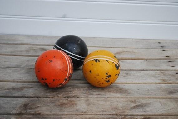 Wooden Croquet Balls Autumn Tones