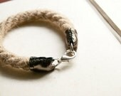 Hello, sailor - rope bracelet with metallic silver leather