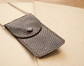 Keepsake - mini pouch necklace in brown faux snakeskin