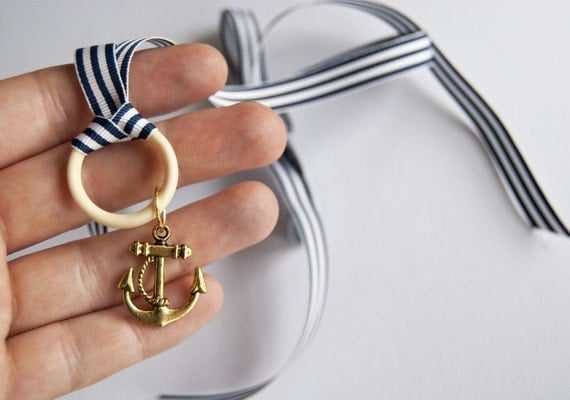 Hello Sailor - anchor ribbon necklace