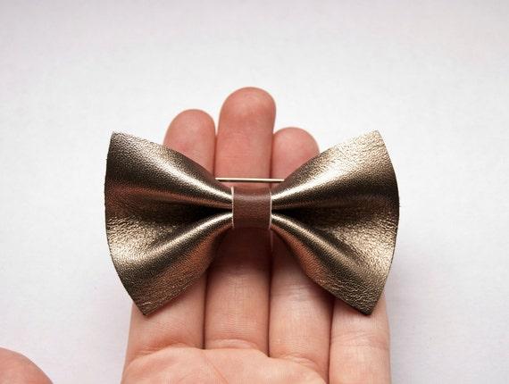 Moon - handmade silver metallic leather bow brooch