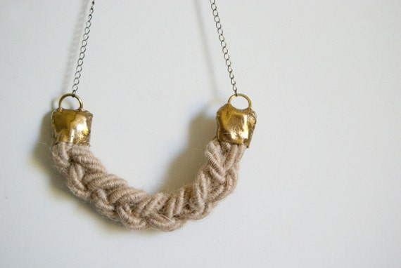 Sail away with me  - nautical braid rope and chain necklace