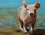 Pig Painting - Run, Pig, Run - Paper Print of an Original Painting by Cari Humphry