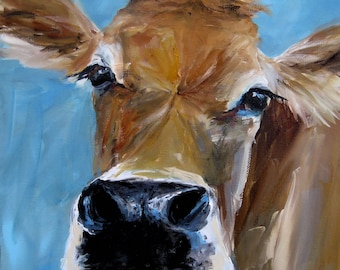 Cow Painting- Izzy - Giclee pring on fine art paper by Cari Humphry
