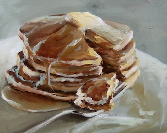 Pancakes  - Paper print of an Original Painting by Cari Humphry