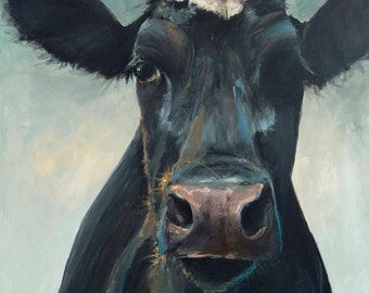 Cow Painting - Hattie - Paper or Canvas Giclee Print