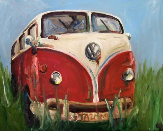 Volkswagon Painting Davis - Canvas or Paper Print of an Original Oil Painting of Volkswagon Microbus Van