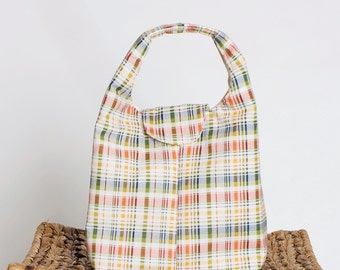 Lunch Bag Insulated - Red, Blue, Green and Yellow Plaid
