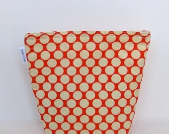 Snack Bag Sandwich Bag With Gusset Bottom Eco Friendly Moon Dot in Red