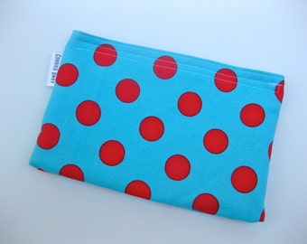 Eco Friendly Snack Bag - Aqua With Red Dots