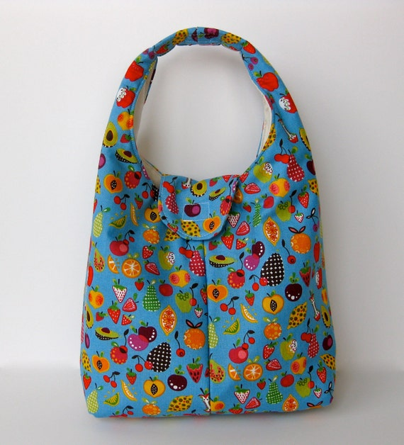 Insulated Lunch Bag Alexander Henry Tiny Fruit On Blue Eco Friendly Washable