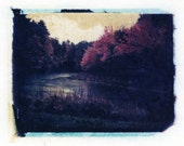 Oops Original Polaroid Transfer - Rainy Fall day in New England - signed
