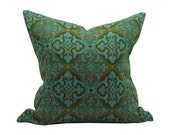"20""x20"" Teal and Rust Vintage Damask Pillow"