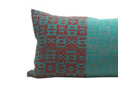 "14""x28"" Urban Geometric Merino and Cotton Knit Pillow Red and Turquoise"
