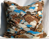 Asian Landscape Teal and Brown 22\/22 Pillow Cover