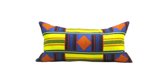 """10""""x20"""" Tribal Color Block Printed Pillow Cover - Yellow Navy and Red"""