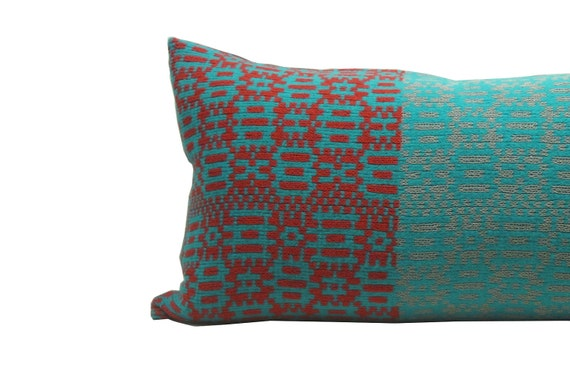 """14""""x28"""" Urban Geometric Merino and Cotton Knit Pillow Red and Turquoise"""