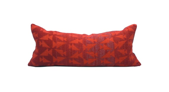 """10""""x23"""" Red Cotton and Salmon Red Merino Geometric Pillow Cover"""