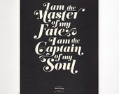 INVICTUS on black - typography art print - 13 x 19 in French or English - vintage collection