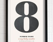 "Pick a number - Personalized Number Poster art print - 13""x19"""