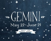 Personalized Zodiac Constellation print - 8.5 x 11 - Twelve Astrological signs available