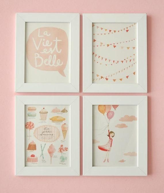 La Vie est Belle - FOR FRAMING Set of 4 prints and 1 FREE